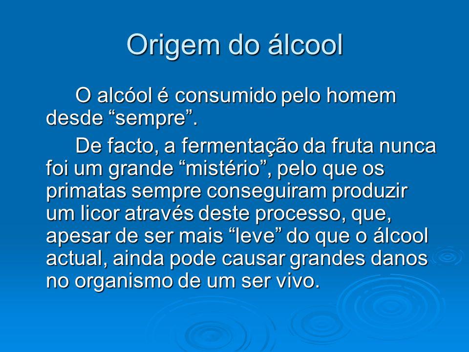 Origem do álcool O alcóol é consumido pelo homem desde sempre. De facto, a fermentação da fruta nunca foi um grande mistério, pelo que os primatas sem