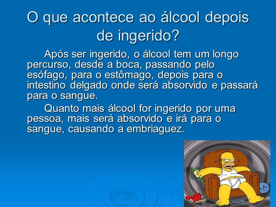 Conduzir embriagado Devido às alterações que o álcool causa no sistema nervoso, este pode causar alterações nos diversos sentidos, assim como na concentração e equilíbrio.