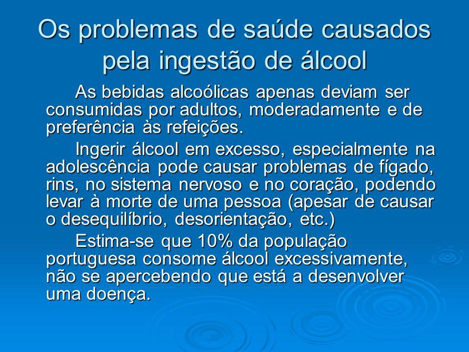 Os problemas de saúde causados pela ingestão de álcool As bebidas alcoólicas apenas deviam ser consumidas por adultos, moderadamente e de preferência