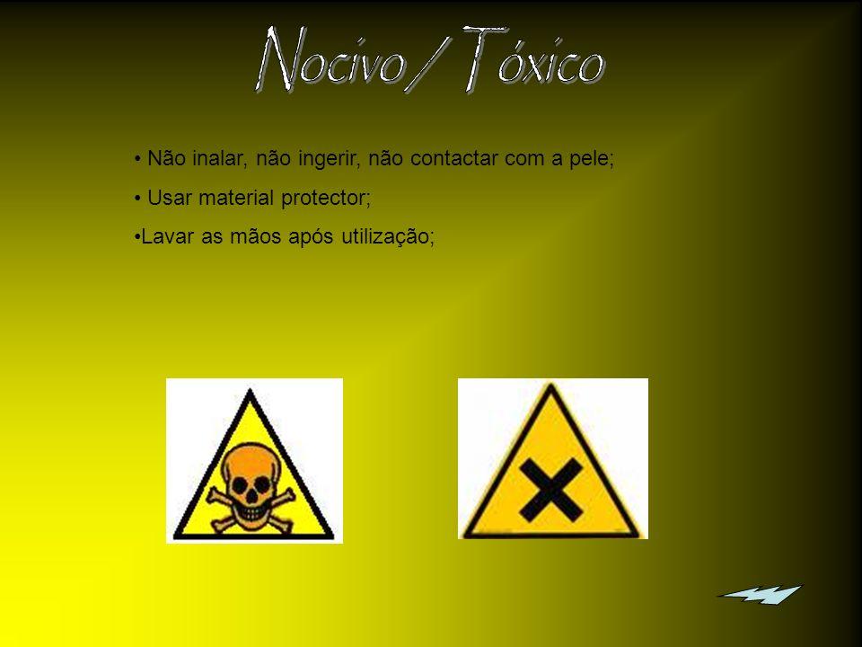 Não inalar, não ingerir, não contactar com a pele; Não inalar vapores; Usar material protector usar a hotte; Lavar as mãos após utilização.