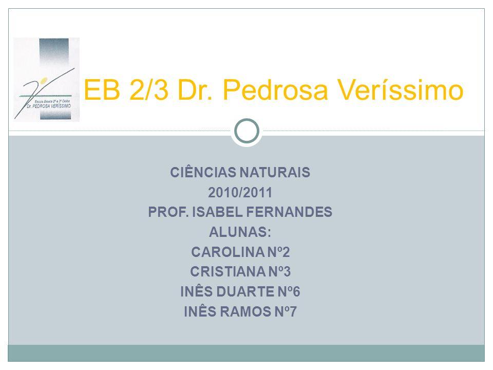 CIÊNCIAS NATURAIS 2010/2011 PROF. ISABEL FERNANDES ALUNAS: CAROLINA Nº2 CRISTIANA Nº3 INÊS DUARTE Nº6 INÊS RAMOS Nº7 EB 2/3 Dr. Pedrosa Veríssimo