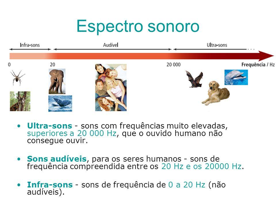 Espectro sonoro Ultra-sons - sons com frequências muito elevadas, superiores a 20 000 Hz, que o ouvido humano não consegue ouvir. Sons audíveis, para