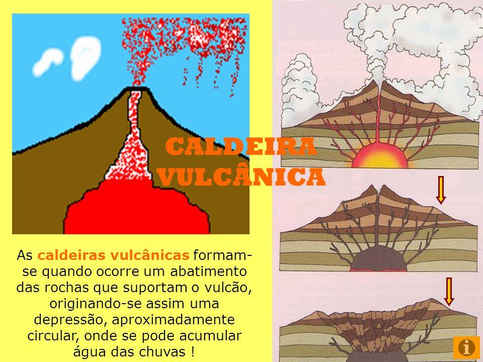 CALDEIRA VULCÂNICA As caldeiras vulcânicas formam- se quando ocorre um abatimento das rochas que suportam o vulcão, originando-se assim uma depressão,
