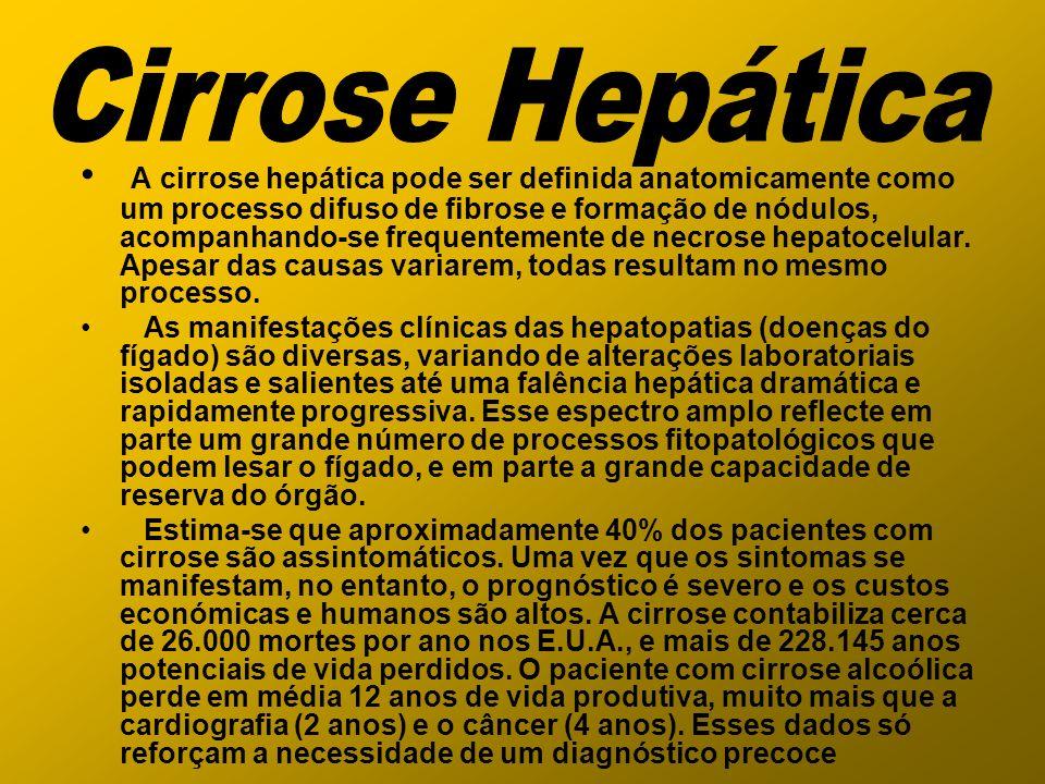 A cirrose hepática pode ser definida anatomicamente como um processo difuso de fibrose e formação de nódulos, acompanhando-se frequentemente de necros