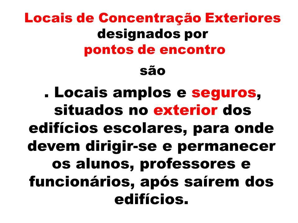 Locais de Concentração Exteriores designados por pontos de encontro são.