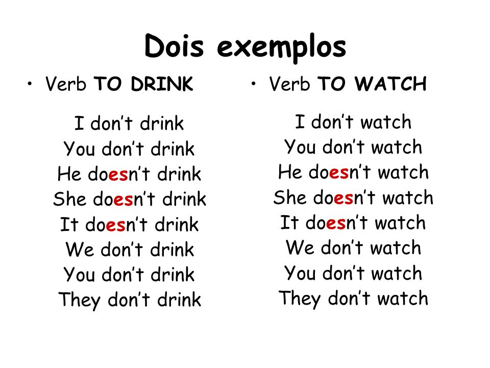 Dois exemplos Verb TO DRINK I dont drink You dont drink He doesnt drink She doesnt drink It doesnt drink We dont drink You dont drink They dont drink
