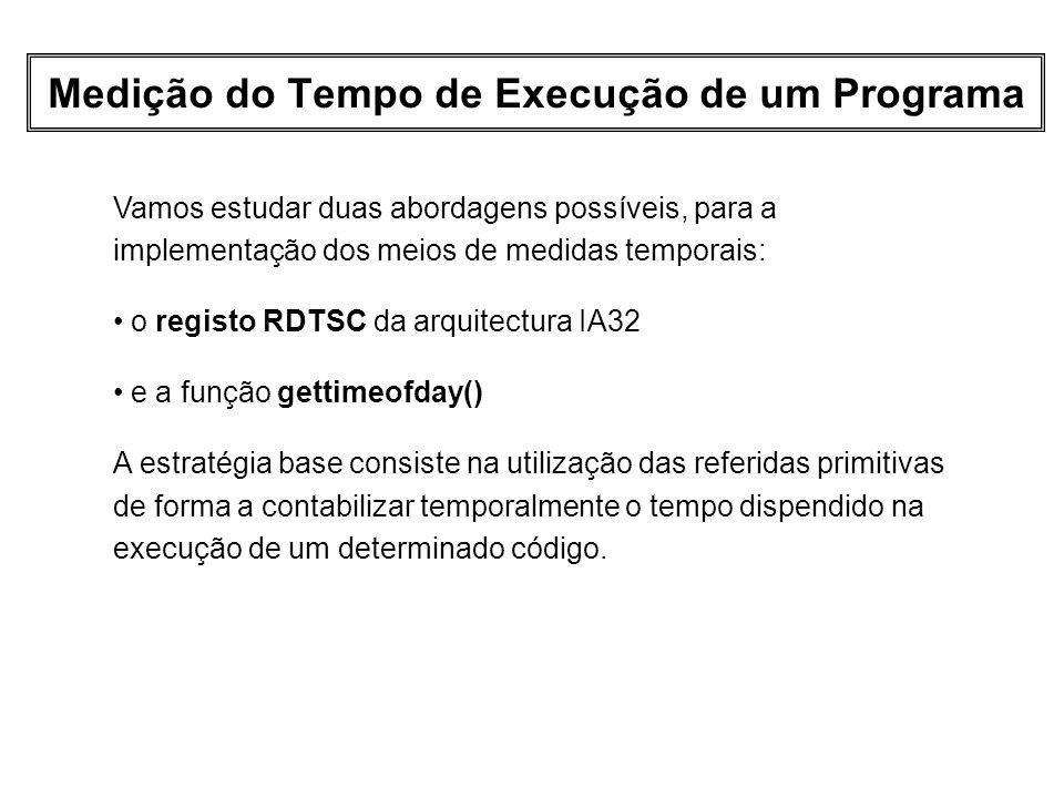 Medição do Tempo de Execução de um Programa Vamos estudar duas abordagens possíveis, para a implementação dos meios de medidas temporais: o registo RD