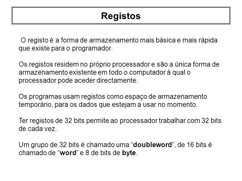 Registos O registo é a forma de armazenamento mais básica e mais rápida que existe para o programador. Os registos residem no próprio processador e sã