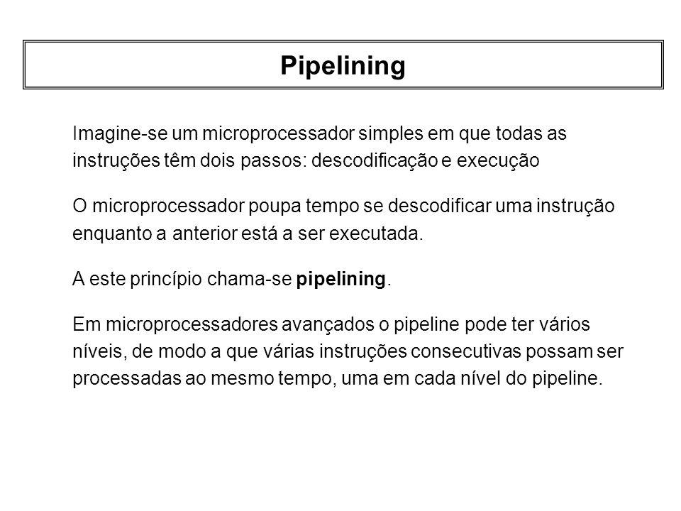 Pipelining Imagine-se um microprocessador simples em que todas as instruções têm dois passos: descodificação e execução O microprocessador poupa tempo