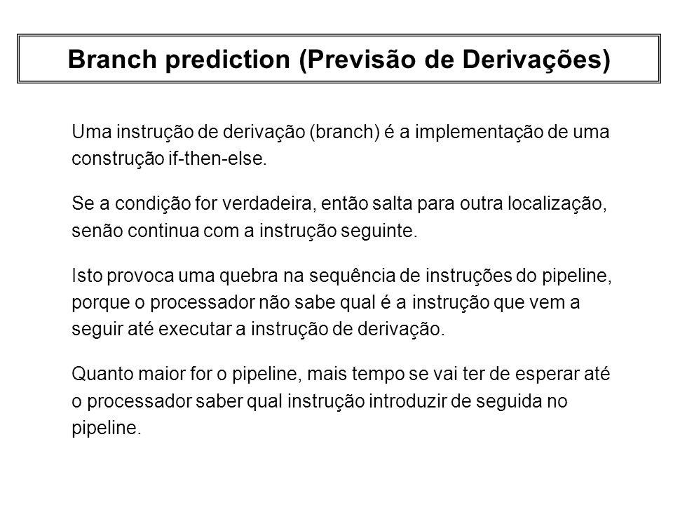 Branch prediction (Previsão de Derivações) Uma instrução de derivação (branch) é a implementação de uma construção if-then-else. Se a condição for ver