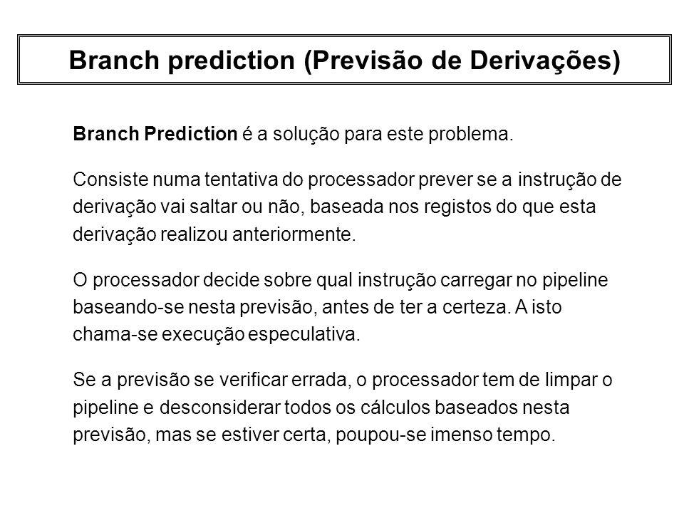 Branch prediction (Previsão de Derivações) Branch Prediction é a solução para este problema. Consiste numa tentativa do processador prever se a instru