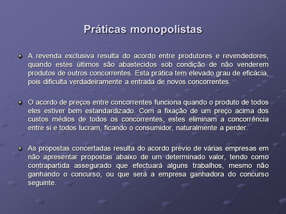 Práticas monopolistas Práticas monopolistas Os cartéis são associações de produtores que funcionam como um único.