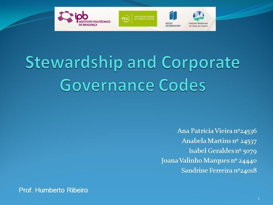 Índice 1 - Corporate Governance 1.1 – Conceito 1.2 – Teoria da Agência 1.3 – Conflitos de Agência 2 – Teoria Stewardship 3 – Códigos de Melhores Práticas de Corporate Governance 3.1 – Corporate Governance em Portugal Conclusão 2