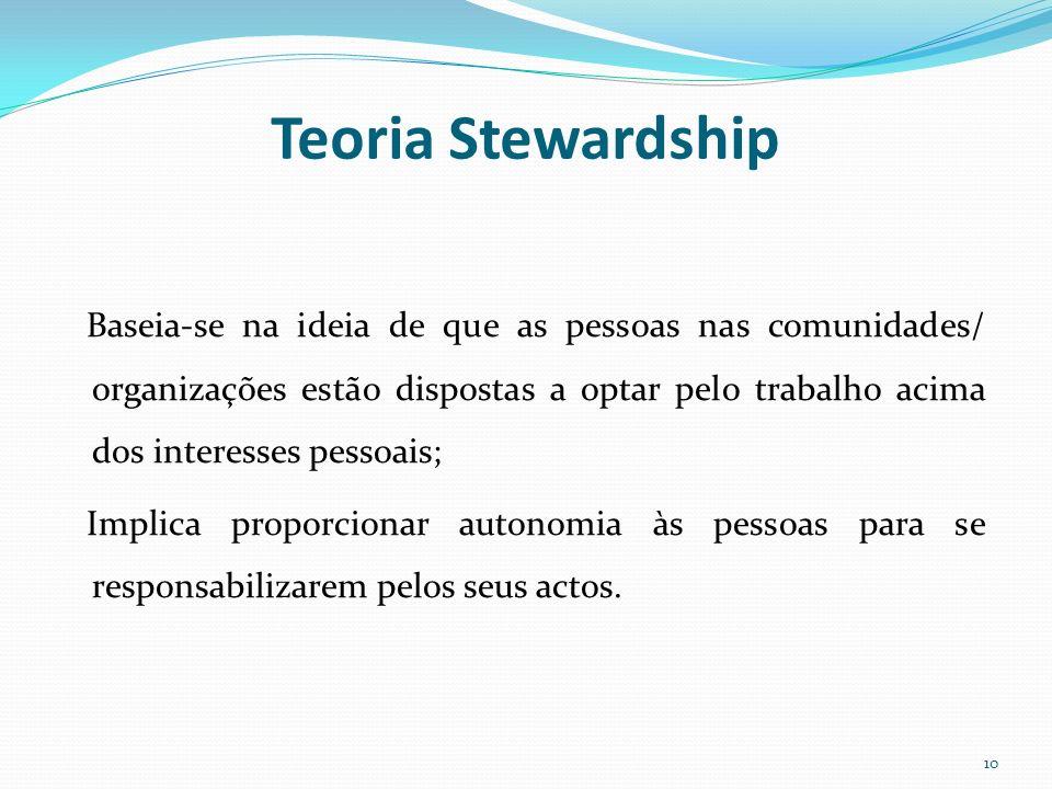 Teoria Stewardship Baseia-se na ideia de que as pessoas nas comunidades/ organizações estão dispostas a optar pelo trabalho acima dos interesses pesso