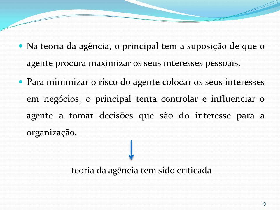 Na teoria da agência, o principal tem a suposição de que o agente procura maximizar os seus interesses pessoais. Para minimizar o risco do agente colo
