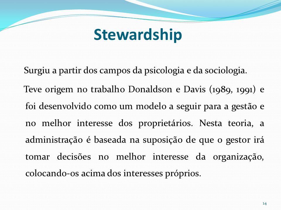 Stewardship Surgiu a partir dos campos da psicologia e da sociologia. Teve origem no trabalho Donaldson e Davis (1989, 1991) e foi desenvolvido como u