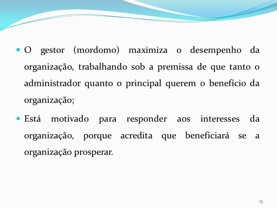 O gestor (mordomo) maximiza o desempenho da organização, trabalhando sob a premissa de que tanto o administrador quanto o principal querem o benefício