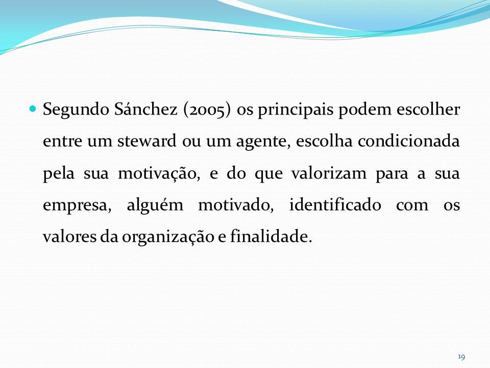 Segundo Sánchez (2005) os principais podem escolher entre um steward ou um agente, escolha condicionada pela sua motivação, e do que valorizam para a