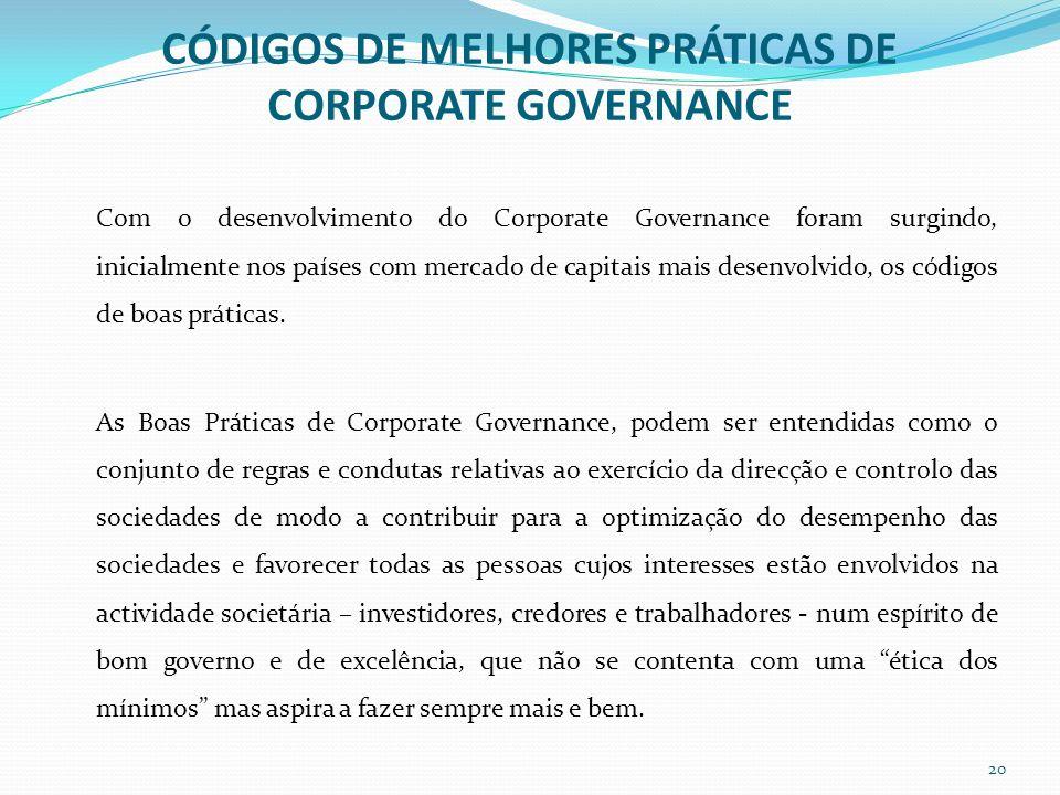 CÓDIGOS DE MELHORES PRÁTICAS DE CORPORATE GOVERNANCE Com o desenvolvimento do Corporate Governance foram surgindo, inicialmente nos países com mercado
