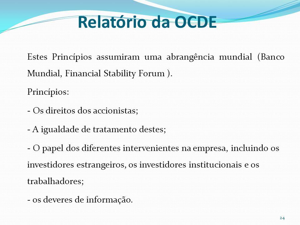 Relatório da OCDE Estes Princípios assumiram uma abrangência mundial (Banco Mundial, Financial Stability Forum ). Princípios: - Os direitos dos accion