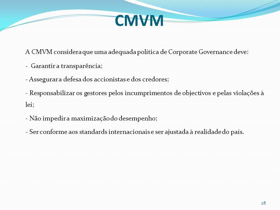 CMVM A CMVM considera que uma adequada política de Corporate Governance deve: - Garantir a transparência; - Assegurar a defesa dos accionistas e dos c