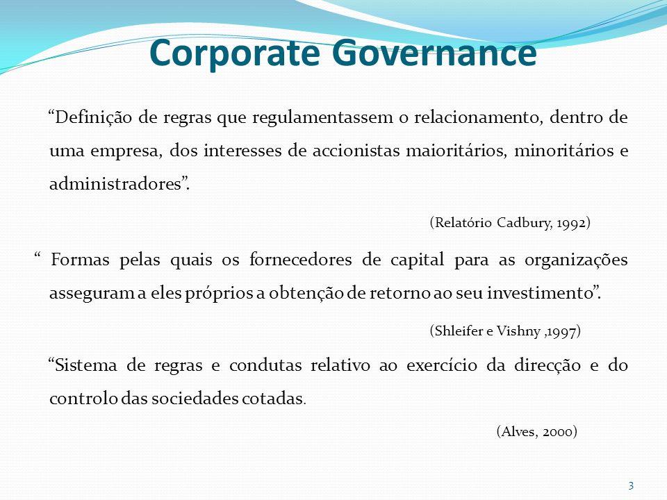 Corporate Governance Definição de regras que regulamentassem o relacionamento, dentro de uma empresa, dos interesses de accionistas maioritários, mino