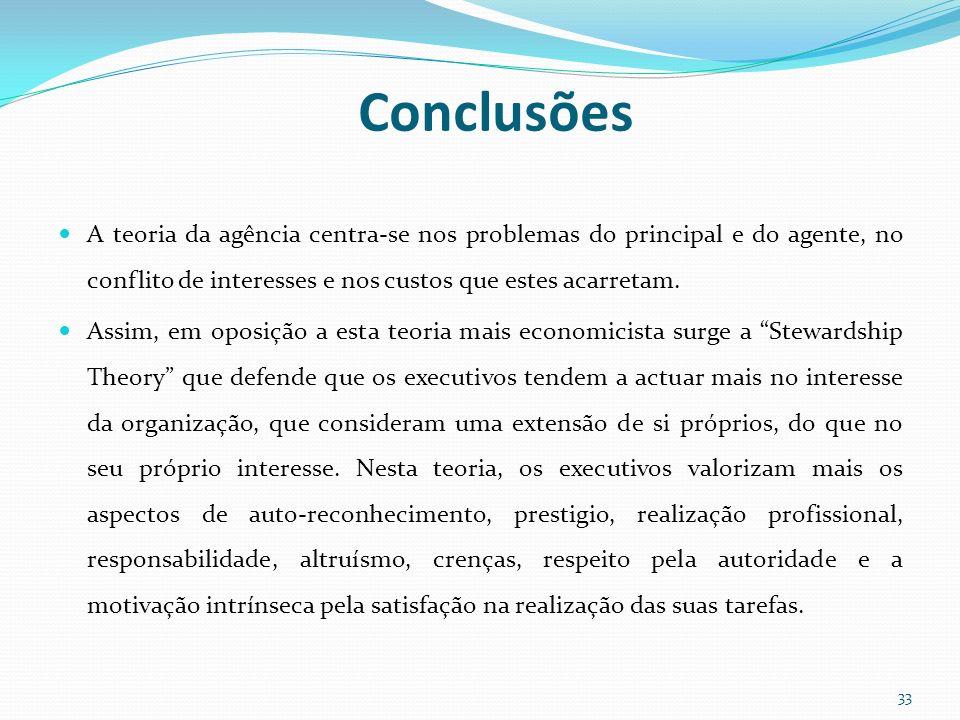 Conclusões A teoria da agência centra-se nos problemas do principal e do agente, no conflito de interesses e nos custos que estes acarretam. Assim, em