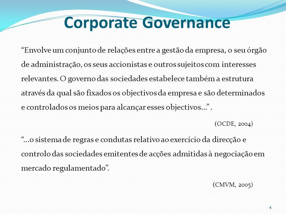 Corporate Governance Envolve um conjunto de relações entre a gestão da empresa, o seu órgão de administração, os seus accionistas e outros sujeitos co