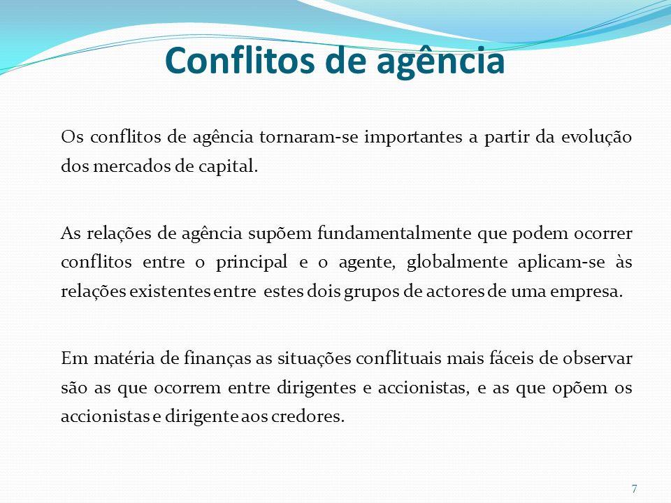 Conflitos de agência A relação de agência é assimilável a um contrato que pode suscitar conflitos entre as partes, acarretando custos e perdas de riqueza.