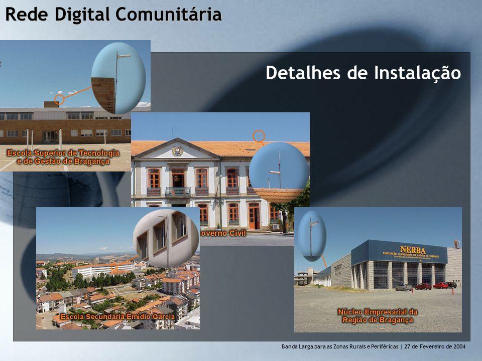 Rede Digital Comunitária Banda Larga para as Zonas Rurais e Perif é ricas | 27 de Fevereiro de 2004 Detalhes de Instalação