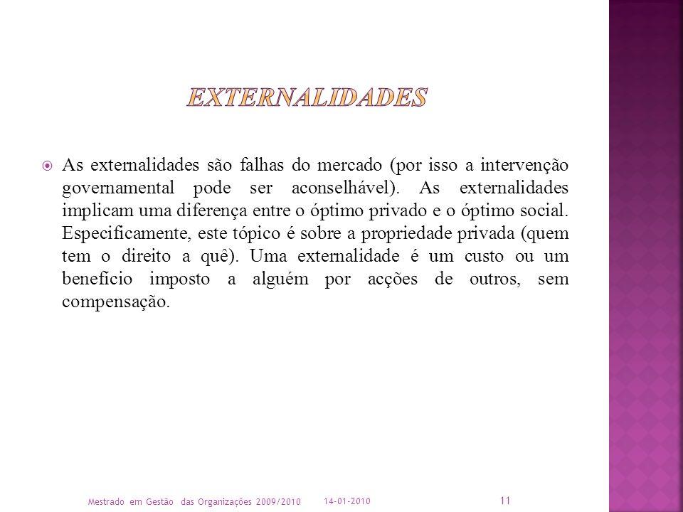 As externalidades são falhas do mercado (por isso a intervenção governamental pode ser aconselhável). As externalidades implicam uma diferença entre o
