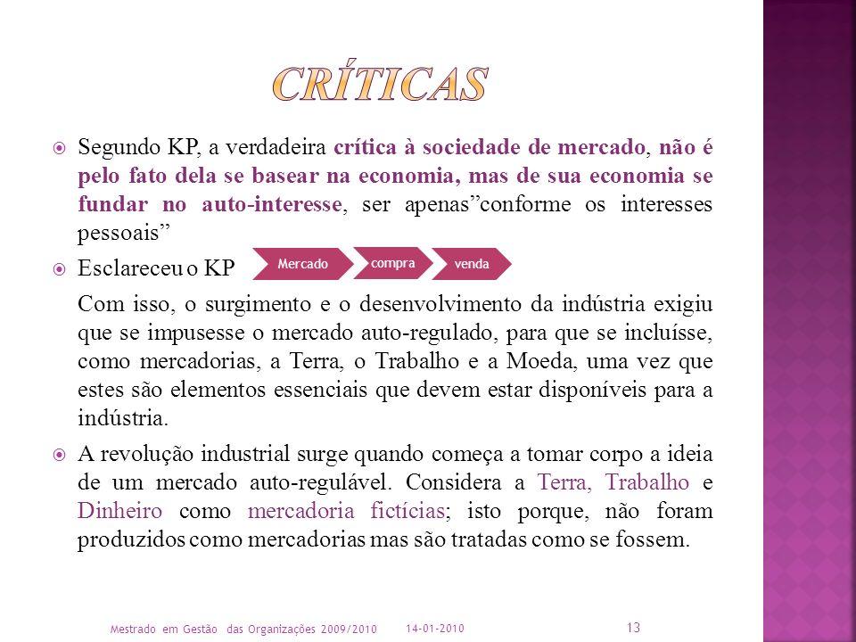 Segundo KP, a verdadeira crítica à sociedade de mercado, não é pelo fato dela se basear na economia, mas de sua economia se fundar no auto-interesse,