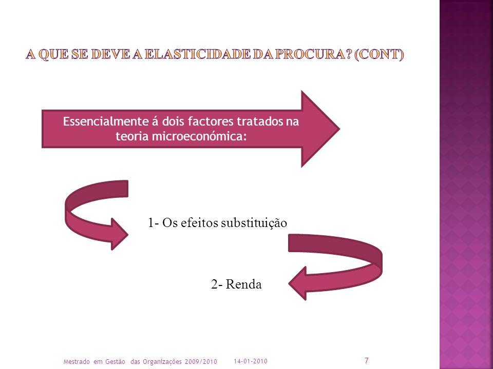 Essencialmente á dois factores tratados na teoria microeconómica: 1- Os efeitos substituição 2- Renda 14-01-2010 Mestrado em Gestão das Organizações 2