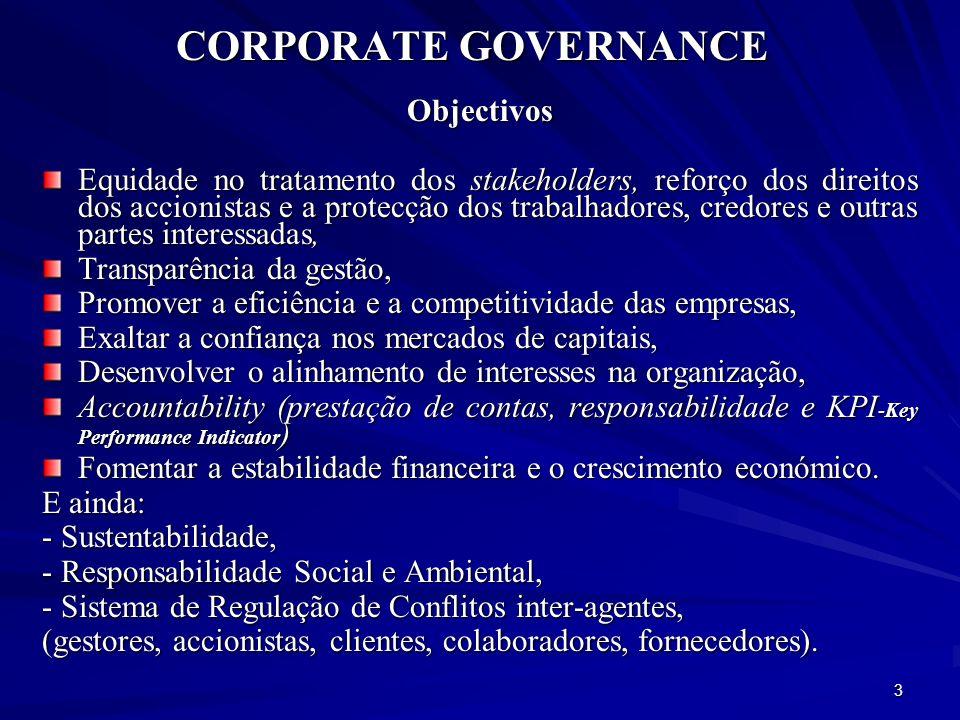 CORPORATE GOVERNANCE Importância Crescente As principais intervenções em matéria de CG surgiram como reacções a situações de crise e escândalos empresariais: O Relatório Cadbury (1992), que reagiu a escândalos societários.