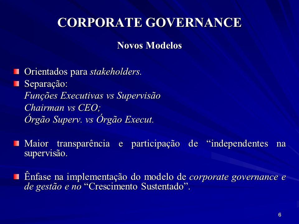 CORPORATE GOVERNANCE Transparência Fornecer atempadamente informação adequada, clara e comparável sobre o desempenho da empresa no que se refere ao cumprimento dos princípios de Corporate Governance.