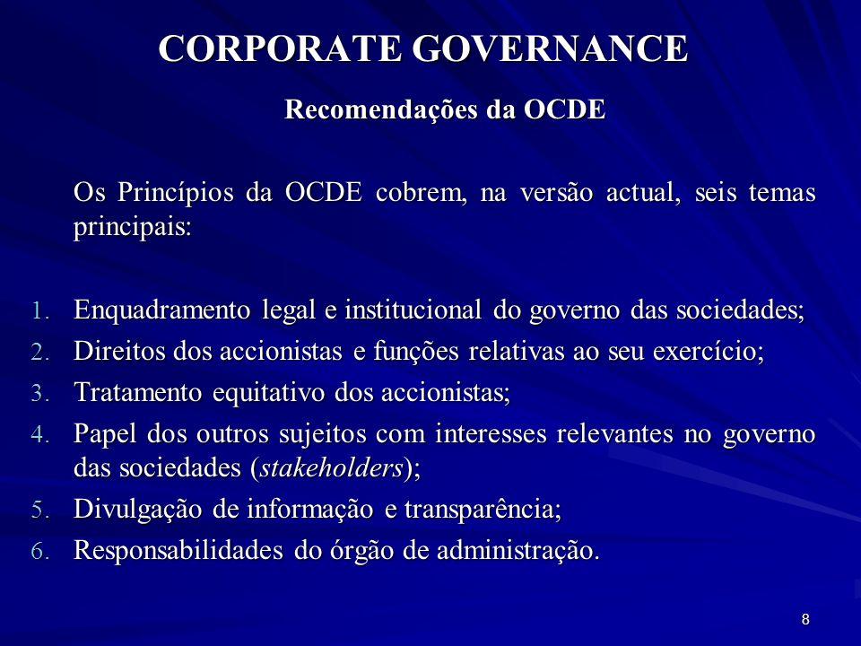 CORPORATE GOVERNANCE Recomendações da OCDE (cont.) No propósito para estes princípios reza lapidarmente o preâmbulo das Orientações da OCDE: There is no single model of good corporate governance.