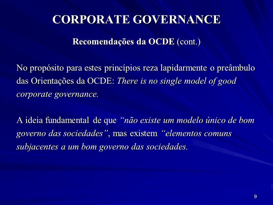 CORPORATE GOVERNANCE União Europeia – Recomendações e Propostas Modernizar o Direito das Sociedades e reforçar o Governo das Sociedades – Plano de Acção (2003).