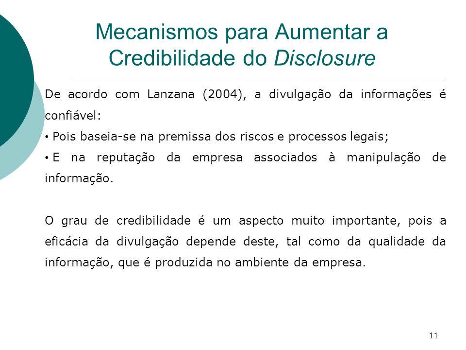 Mecanismos para Aumentar a Credibilidade do Disclosure De acordo com Lanzana (2004), a divulgação da informações é confiável: Pois baseia-se na premis