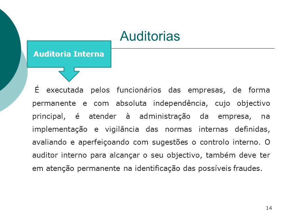 Auditorias Auditoria Interna É executada pelos funcionários das empresas, de forma permanente e com absoluta independência, cujo objectivo principal,