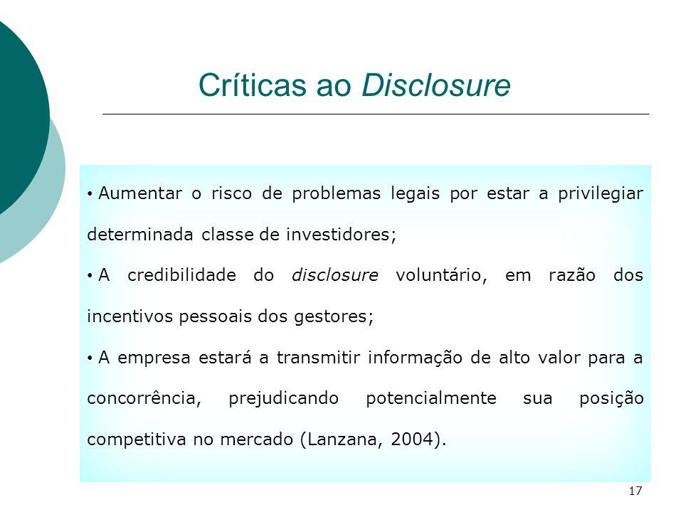 Críticas ao Disclosure Aumentar o risco de problemas legais por estar a privilegiar determinada classe de investidores; A credibilidade do disclosure