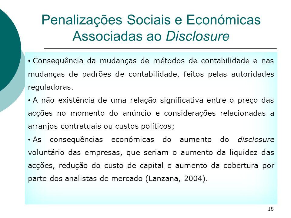 Penalizações Sociais e Económicas Associadas ao Disclosure Consequência da mudanças de métodos de contabilidade e nas mudanças de padrões de contabili