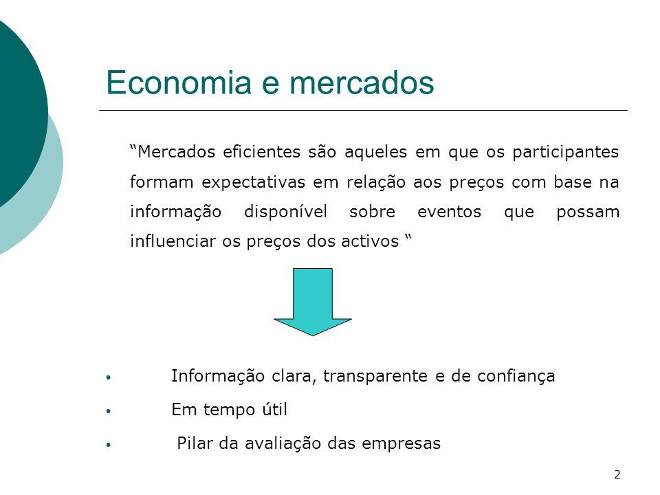 Economia e mercados Mercados eficientes são aqueles em que os participantes formam expectativas em relação aos preços com base na informação disponíve