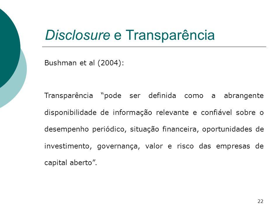 Disclosure e Transparência Bushman et al (2004): Transparência pode ser definida como a abrangente disponibilidade de informação relevante e confiável