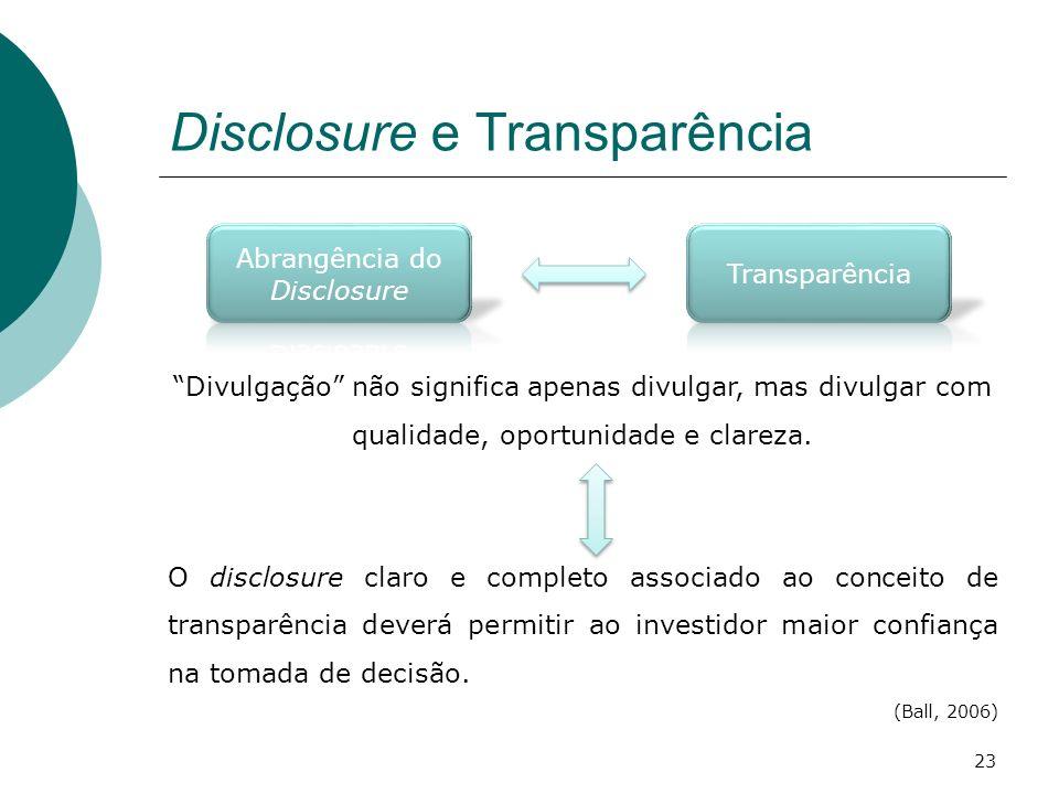 Disclosure e Transparência Divulgação não significa apenas divulgar, mas divulgar com qualidade, oportunidade e clareza. O disclosure claro e completo