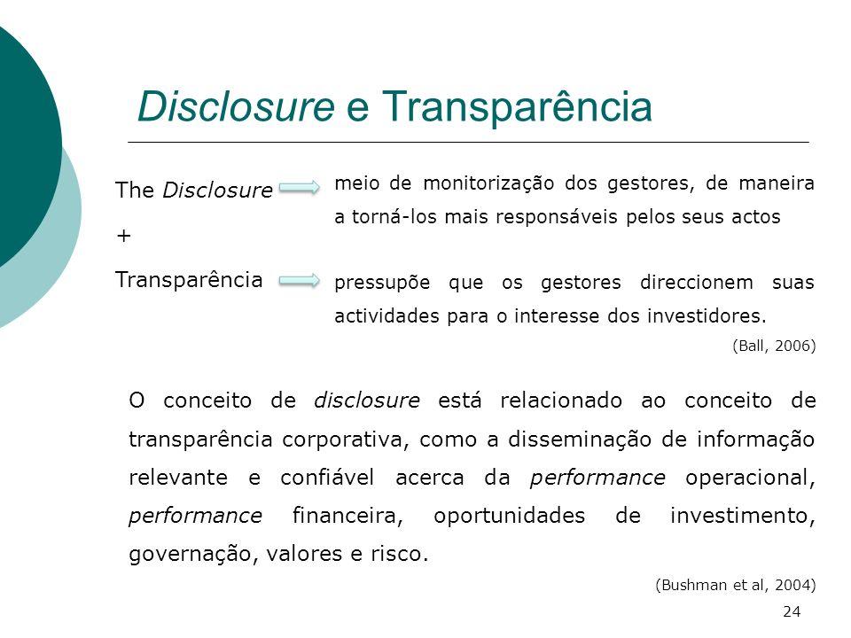 Disclosure e Transparência The Disclosure + Transparência O conceito de disclosure está relacionado ao conceito de transparência corporativa, como a d