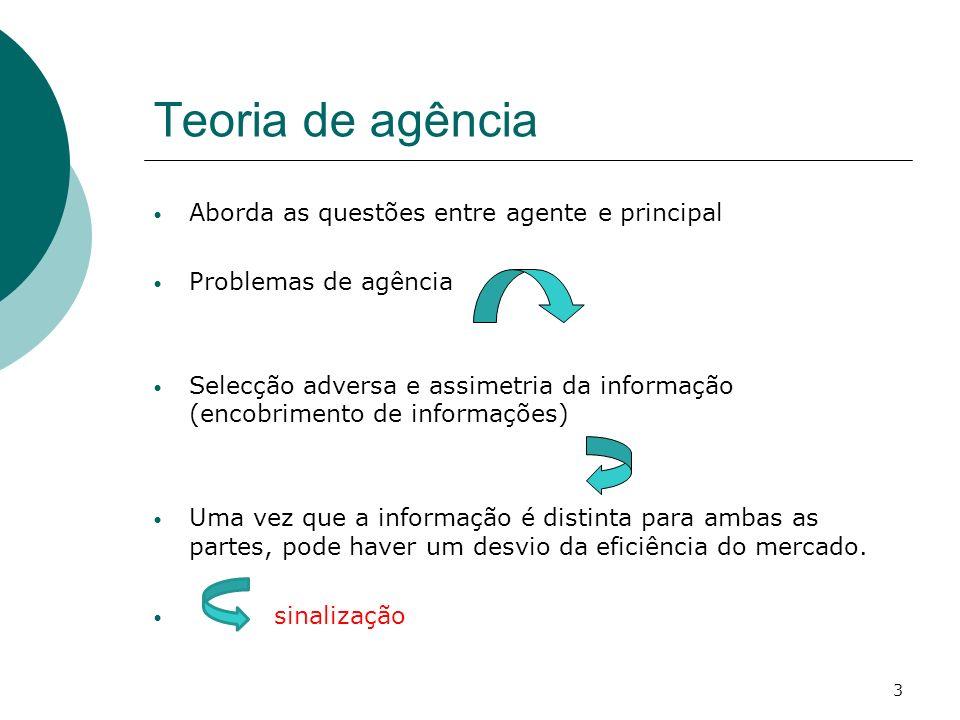 Teoria de agência Aborda as questões entre agente e principal Problemas de agência Selecção adversa e assimetria da informação (encobrimento de inform