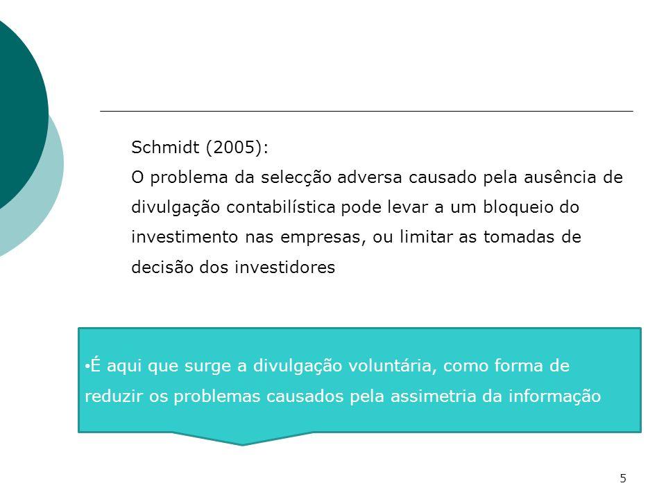 Schmidt (2005): O problema da selecção adversa causado pela ausência de divulgação contabilística pode levar a um bloqueio do investimento nas empresa