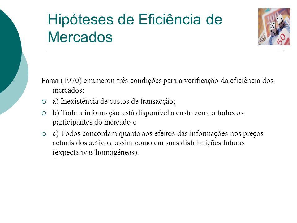 Hipóteses de Eficiência de Mercados (Cont.) Fama (1991), propôs alterações na denominação das formas de eficiência de mercado.