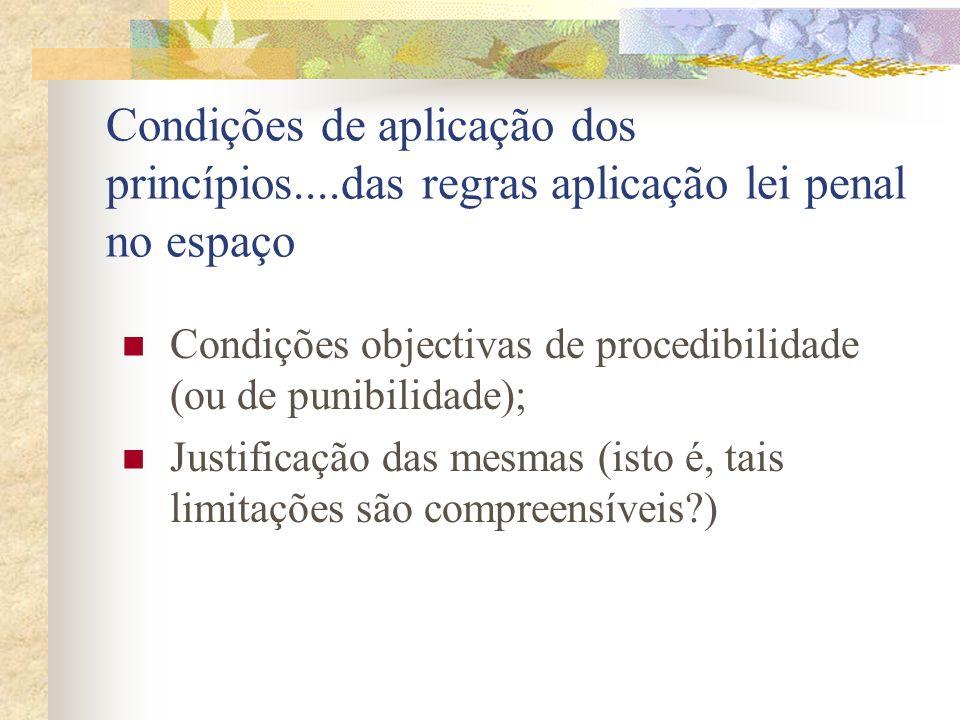 Condições de aplicação dos princípios....das regras aplicação lei penal no espaço Condições objectivas de procedibilidade (ou de punibilidade); Justificação das mesmas (isto é, tais limitações são compreensíveis?)