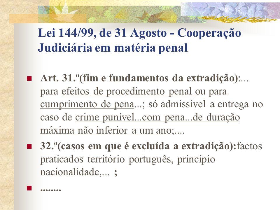 Lei 144/99, de 31 Agosto - Cooperação Judiciária em matéria penal Art.